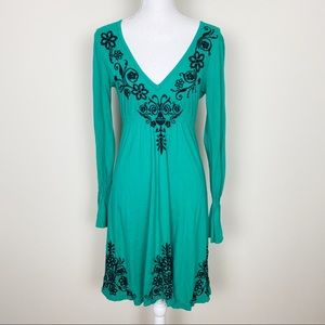Johnny Was green embroidered dress
